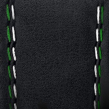 Mauron Musy - Cuir noir doubles coutures vertes et blanches